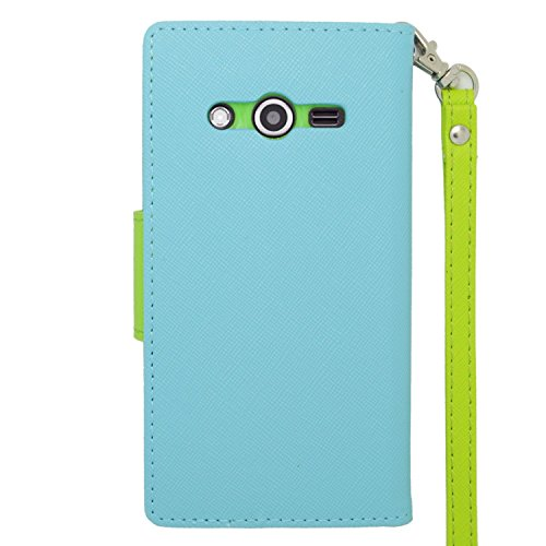 Eagle Cell PU Leather Case for SAMSUNG Galaxy Avant/G386T - Retail Packaging - Lite Blue/Green (Grade Ribbed Pattern)