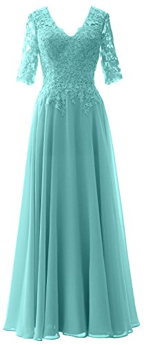 MACloth Half Dress Bride Gown V Mother of Turquoise Women Neck Formal Sleeves Evening TwrRxTSqH