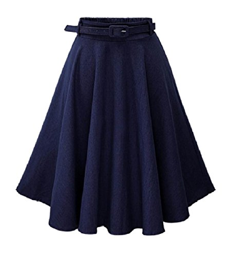 Jeans Full Circle (Abetteric Women A-line Denim Full Circle Party Retro Style Elegent Skirt Dark Blue OS)