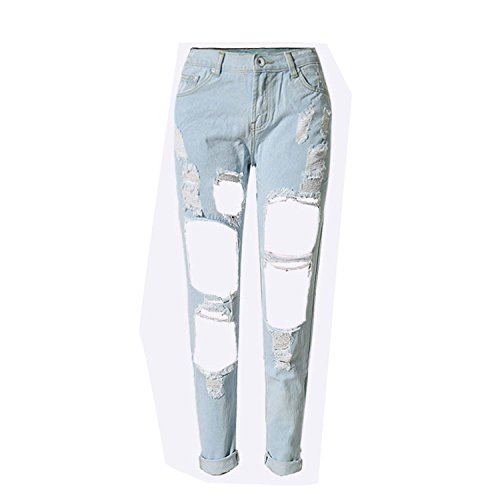 Mary Steele Sexy Hole Denim Jeans Women High Waist Ankle-Length Vintage Slim Straight Ripped Denim Pants Trousers Night Club Light Blue - Mall Ri Newport Newport