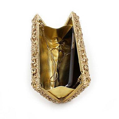 Heart&M Damen Metall Strass Kette Metallic Magnetisch Gold Hellgold