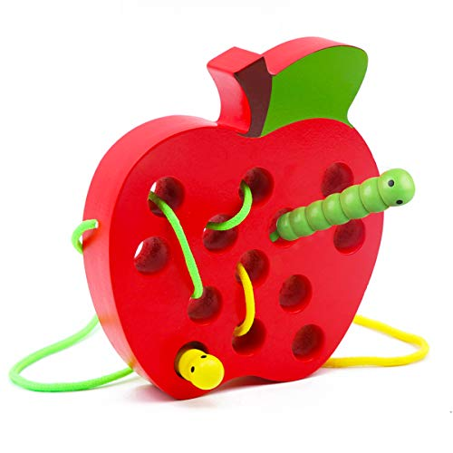 Wooden Apple Lacing Toy with 2 Worms, WOOD CITY Fine Motor Skills Toys, Airplane Travel Toys, Apple Threading Game Early…