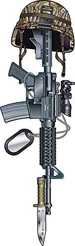 "Military Machine Gun Rifle with Camo Helmet and Dogtags Cartoon Truck Car Bumper Sticker Vinyl Decal 5"""