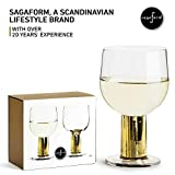 Sagaform Gold Stemmed Drinking Glasses, 2 Pack - All Purpose Elegant Tumblers for Wine, Cocktails, Shots and Beverages - for Weddings, Parties, Catering and Home Dining