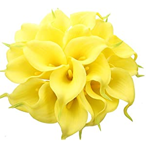 Duovlo 20pcs Calla Lily Bridal Wedding Bouquet Lataex Real Touch Artificial Flower Home Party Decor (Yellow) 30