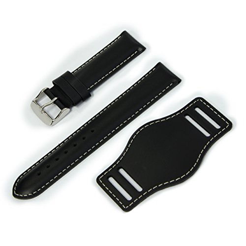 (CASSIS Type NATO Protector 2 Leather Cuff Watch Strap with Waterproof Back Lining 20mm White Stitched Black with Tool U1023050819020M)