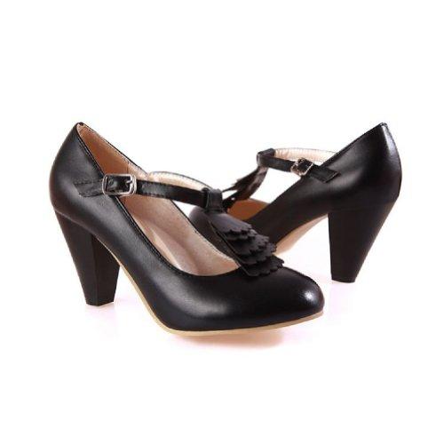 Charme Pied Mode T Sangle Femmes Haut Talon Mary Jane Pompes Chaussures Noir