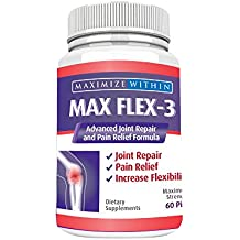 Max Flex-3-Advanced Joint Repair & Pain Relief Formula with Green Lipped Mussel. Support Treatment:Back Pain,Shin Splints,Arthritis,Tennis Elbow-Manage Knee,Hip&Shoulder Joint Flexibility MONTH SUPPLY