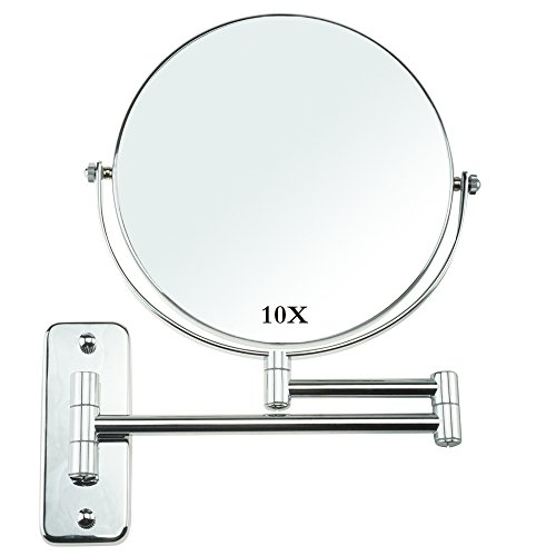 Lansi Makeup Mirror 10X Magnifying Wall Mount Double-Sided Vanity Decoration, Round, 8 Inch, Chrome - Spa Silver Mirror