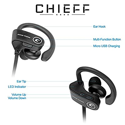 CHIEFF Bluetooth Headphones - Wireless Sports In Ear Earbuds w/ Mic, Noise cancelling - Perfect fit Ear-hooks HD Sound for Sport, Running, Workout & Fitness for iPhone/ Samsung Android