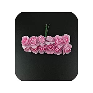 36pcs/lot Scrapbooking Artificial Mulberry Paper Rose Bouquet Wire Stem Wedding Artificial Flowers for Decoration Home Decor,5 33