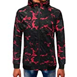 Danhjin Men's Plus Size Retro Jacket Camouflage Zipper Pullover Long Sleeve Hooded Mens Sweatshirt Tops Softshell (Red, XXXL)