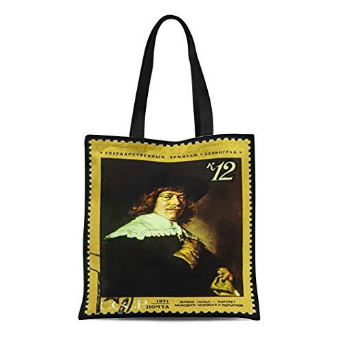 Semtomn Canvas Tote Bag Shoulder Bags Moscow Russia December 24 Stamp Printed in Ussr Shows Women's Handle Shoulder Tote Shopper Handbag