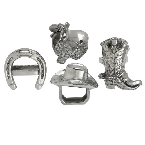 "Arthur Court Designs Aluminum Western Napkin Rings - 1 Each Cowboy Saddle, Boot, Hat Horseshoe 3"" Diameter"