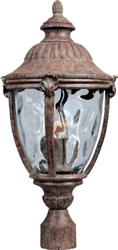 Maxim 40281WGET Morrow Bay VX 3-LT Outdoor Pole/Post Lantern, Earth Tone Finish, Water Glass Glass, CA Incandescent Incandescent Bulb , 40W Max., Dry Safety Rating, Flax Fabric Shade Material, Rated Lumens