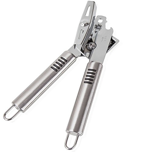 (Left Handed Can Opener, Stainless Steel and Chrome. Light Silver Left Handed Manual Can Opener with 3-in-1 Can Opener/Jar Opener/Bottle Opener Features. Ergonomic Handle and Hanging Loops.)