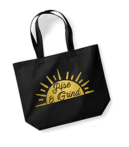 gold Rise amp; Bag Canvas Grind Large Slogan Black Tote Fun B6xBrqw7