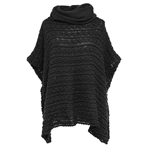 Patterned Knit Sweater (Leoparts Women's Knitted High Collar Short Sleeve Batwing Cloak Sweater Poncho Cape Pullovers)