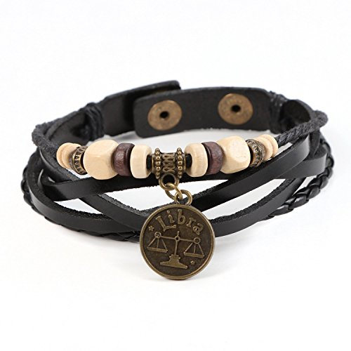 Lucky Handmade Natural Constellation Zodiac Sign Logo Genuine Real Leather Bracelet with Charms, Beads, Button, Adjustable Size, Gift for Him or for Her, Unisex (Libra - Black (Lucky Signs)