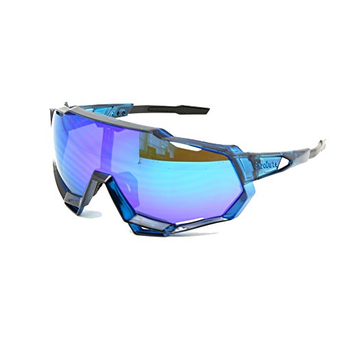EnzoDate Cycling Sunglasses UV400 Polarized 3/4 Lens Kit Downhill Race Motorcycling Race Goggles Wear with Helmet Outdoor Sports (blue, 5 Lens (1 Transition+1 Polarized out of ()