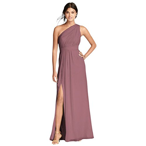 David's Bridal Long One-Shoulder Crinkle Chiffon Bridesmaid Dress Style F18055, Quartz, 8