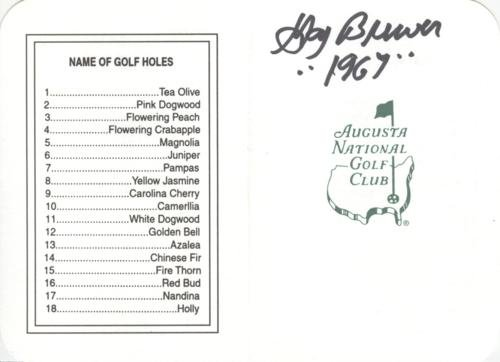 Gay Brewer Autographed Masters Augusta National Golf Club Scorecard -