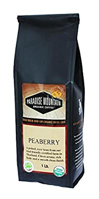 Paradise Mountain, Rare Thailand Peaberry, Certified Organic, Fair Trade, Whole Bean Coffee 16oz/1lb