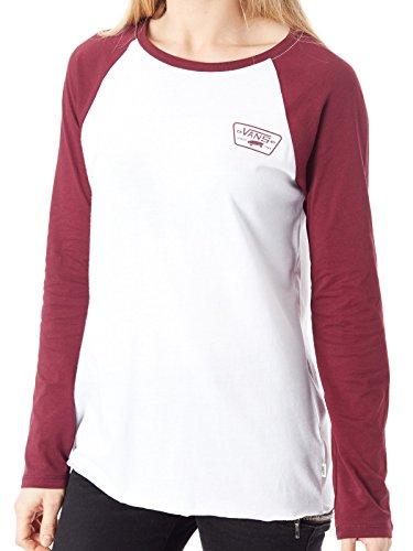 Vans White-Burgundy Full Patch Womens Raglan T-Shirt (L, - Vans Junior