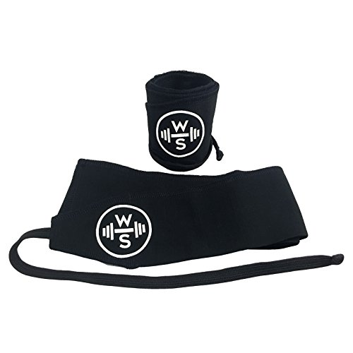 WODShop Wrist Wraps for Fitness, Crossfit, Olympic Weightlifting, Powerlifting, Gymnastics, Calisthenics - One Size Fits All (Black/Black)