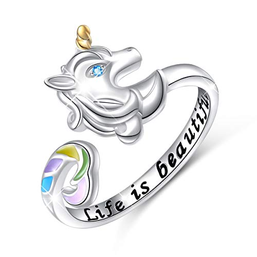 Sterling Silver Life is Beautiful Rainbow Unicorn Adjustable Wrap Open Ring for Women -