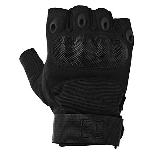TG Hellfox Fingerless Tactical Gloves for Men Hard Knuckle for Military Police Combat Motorcycle Outdoors Camping Cycling Paintball (Black, X-Large)