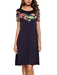 Meaneor Women Casual Floral Short Sleeve Loose Fit Patchwork Tunic Top Dress