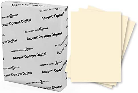 "Accent Opaque Cream Printer Paper, 8.5"" x 11"" 28lb Copy Paper – 500 Sheets (1 Ream) – Premium Computer Paper with Smooth Finish, 97 Bright, 104gsm, Multipurpose Warm White Copy Paper – 188176R"