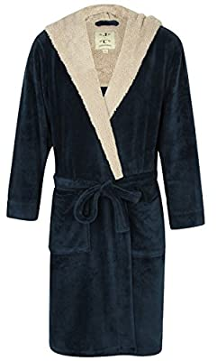 John Christian Men's Hooded Fleece Robe Blue Marl