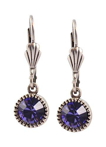 Silver Plated Purple Crystal - Anne Koplik Circle Earrings, Silver Plated with Purple Crystal ES03TAZ