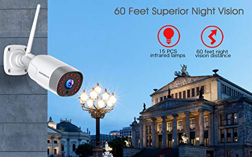 Outdoor Security Camera, SUPEREYE 1080P Waterproof Home Security CCTV WiFi Surveillance Bullet IP Camera with Night Vision, 2-Way Audio, Motion Detection, Cloud Storage Service, Work with Alexa