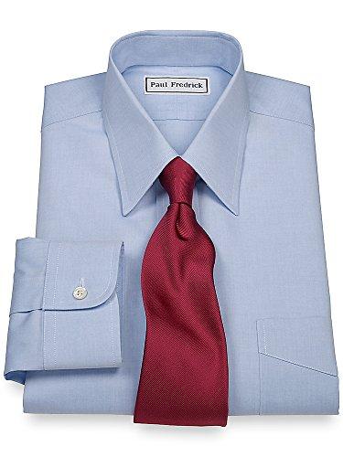 Paul Fredrick Men's Non-Iron 2-Ply Cotton Straight Collar Dress Shirt Blue 18.0/36 (Non Cotton Two Iron Dress Shirt Ply)