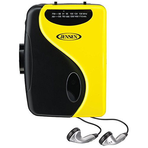 Jensen Limited Edition Yellow Portable Cassette Lightweight Slim Design Stereo AM/FM Radio Cassette Player & Earbuds (Walkman Cassette Player Recorder)
