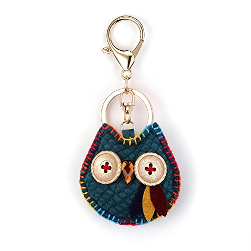 Nikang Handmade Leather Key Holder Metal Chain Charm Without Tassels Handbag Accessories, Purse Pendant, Fashion Item, Car Key Chain, Idea for Woman, Truquoise (Handmade Leather Keychain)