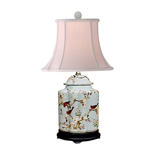 Ginger Jar Lamp Porcelain (Oriental Chinese Porcelain Floral Bird Scallop Ginger Jar Table Lamp 22