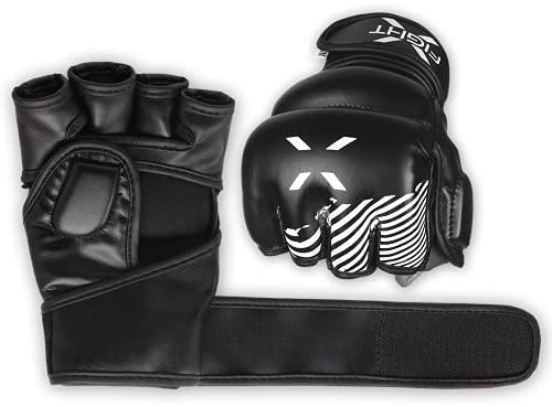 FightX MMA Gloves for Men & Women Training Grip Wristwrap Gloves for Practice Boxing Fighting Gloves Fingerless…