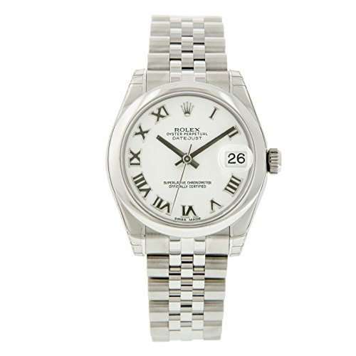 Oyster Perpetual DateJust Stainless Steel Smooth Bezel White Dial with Roman Markers Watch - 31 mm