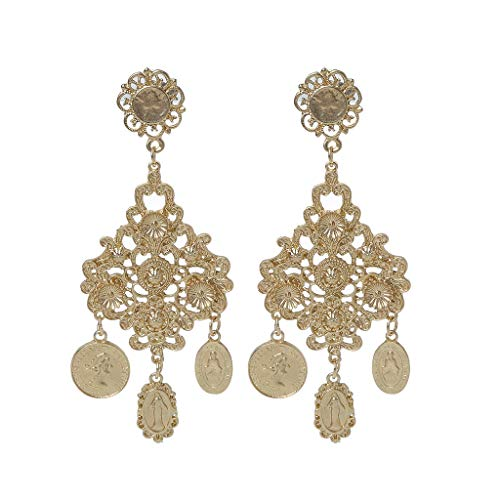 (Hukai Baroque Tribal Rare Coin Virgin Mary Gold Tone Dangle Earrings For Women Jewelry)