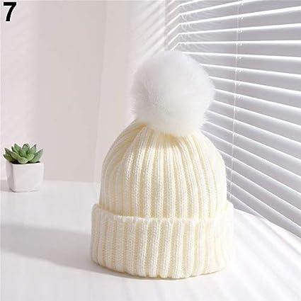 9d81e6f25f7 Amazon.com  Kids Children Boy Girl Winter Warm Knit Beanie Hat Beret  Crochet Cap with Fluffy Ball  Kitchen   Dining