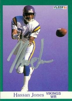 Hassan Jones autographed football card (Minnesota Vikings) 1991 Fleer #283 - NFL Autographed Football Cards