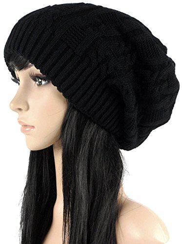 Ls Lady Thick Slouchy Knit Oversized Beanie Cap Hat Winter Warmming Cap