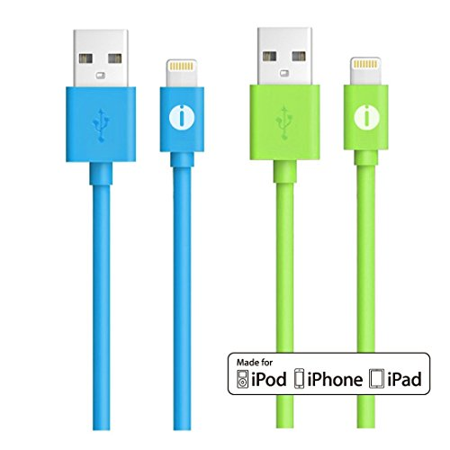 iPhone Charger, Ixt Apple Certified MFi Lightning Cable iPhone 6s Charger 3ft (1M) Short Cable for iPhone SE, iPhone 6 6S 6 Plus 5S 5C 5, iPad Air, iPad Pro, iPad Mini 4 and more,2pcs - Blue&Green