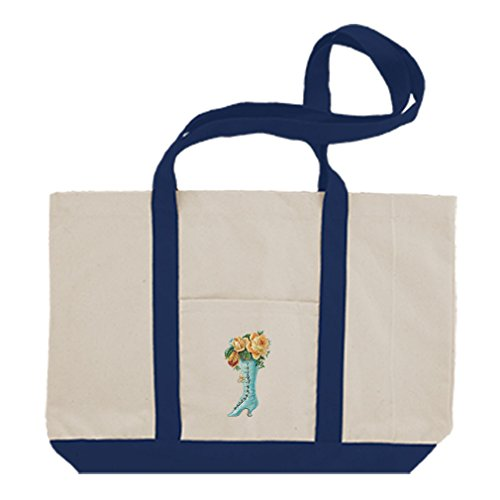 Cotton Canvas Boat Tote Bag Roses In Boot Vintage Look #2 By Style In Print | Royal Blue by Style in Print