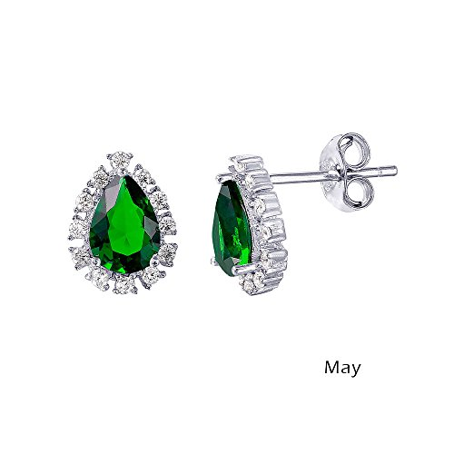 Simulated Emerald Cubic Zirconia May Birthstone Teardrop Earrings Rhodium Plated Sterling Silver by CloseoutWarehouse