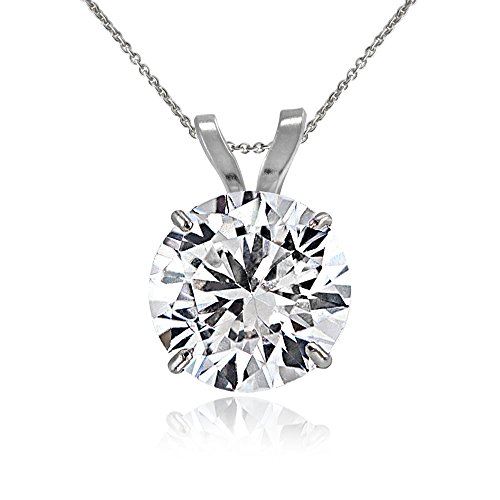 Bria Lou 14k White Gold 7mm Cubic Zirconia Round Solitaire Pendant Necklace, 18